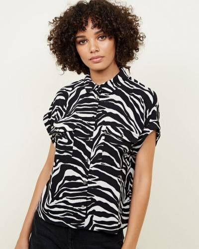 black-zebra-print-rolled-sleeve-shirt