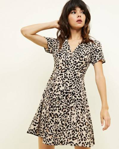 brown-leopard-print-button-front-tea-dress-