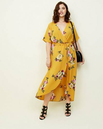 curves-mustard-floral-dip-hem-midi-dress