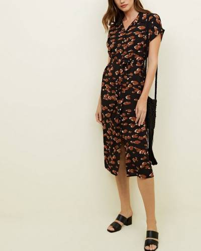 black-leopard-print-midi-shirt-dress