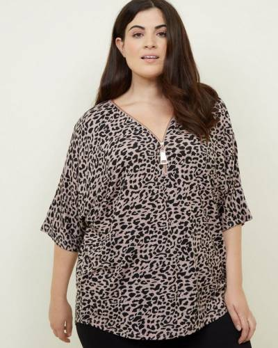 curves-pink-leopard-print-zip-front-tunic-top-