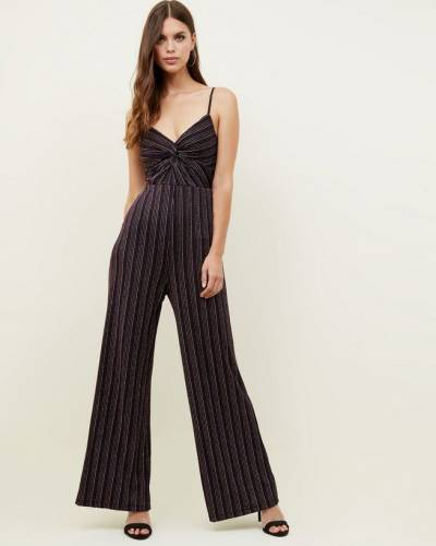black-glitter-stripe-front-twist-jumpsuit