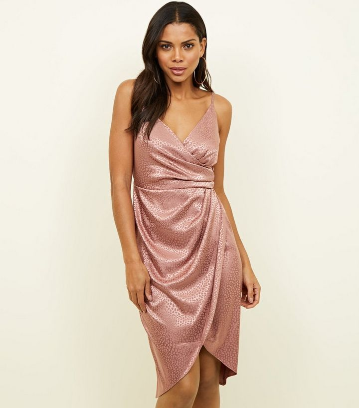 pink-satin-leopard-print-wrap-dress-