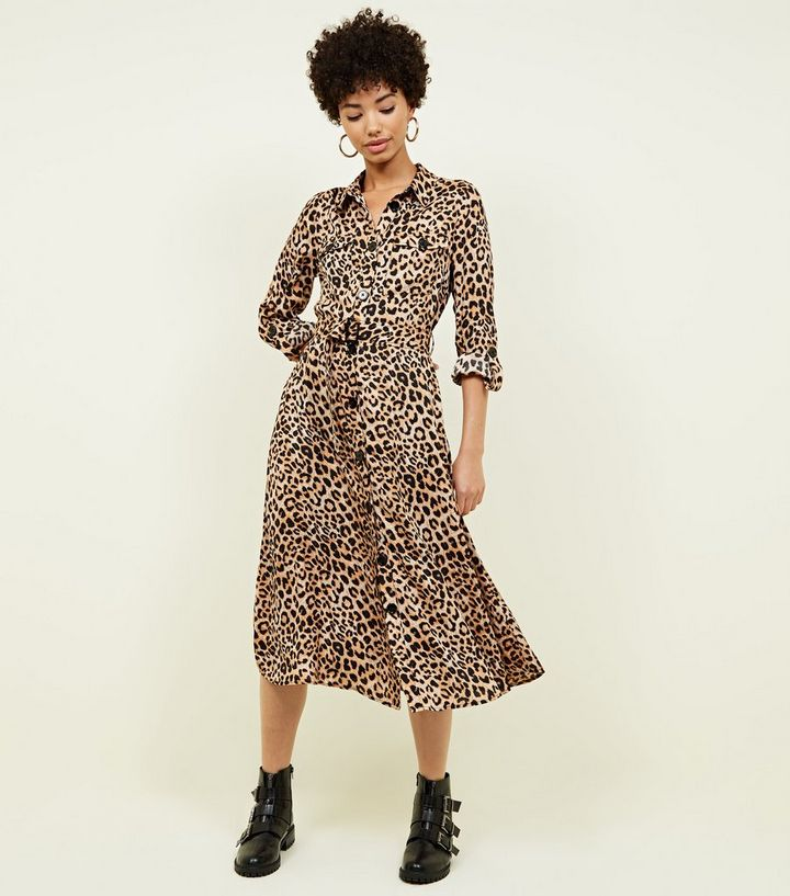 brown-leopard-print-satin-midi-shirt-dress