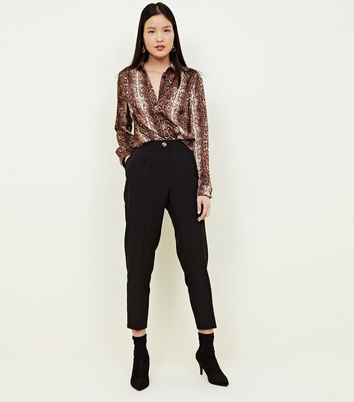 brown-snake-print-crepe-satin-shirt