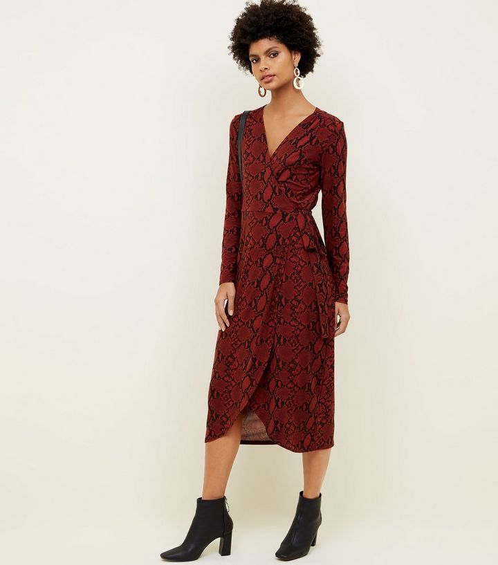 red-snake-print-soft-touch-wrap-dress