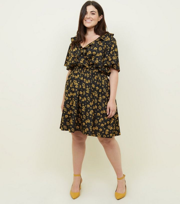 curves-black-ditsy-floral-frill-wrap-front-dress