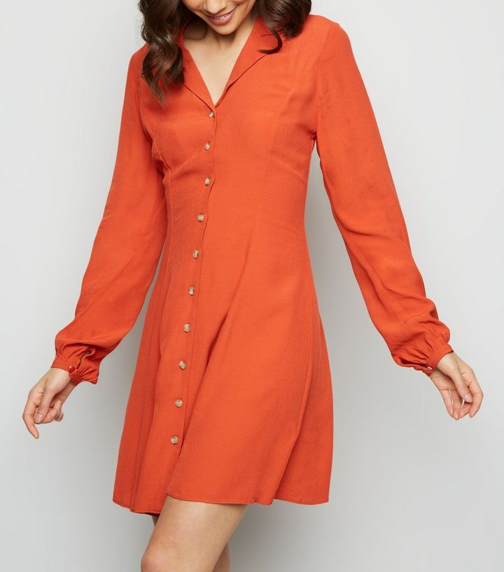 orange-revere-collar-button-front-tea-dress-