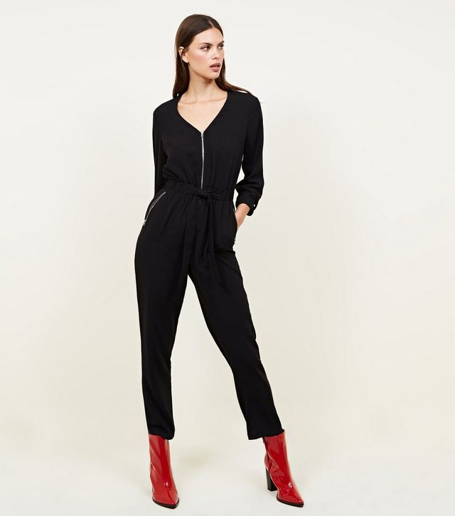 new look black-zip-front-tapered-leg-jumpsuit