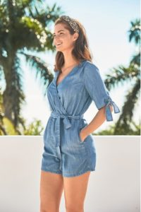 next blue tencel playsuit