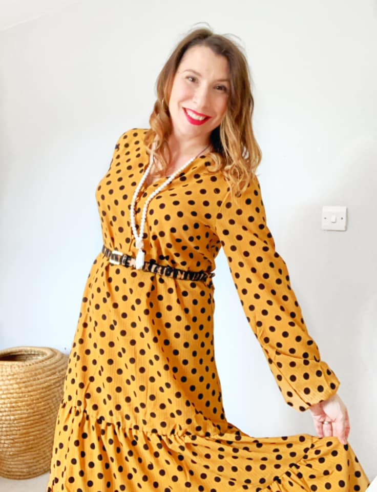 Kate Subritzky mustard spot dress