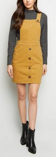 new look mustard pinafore