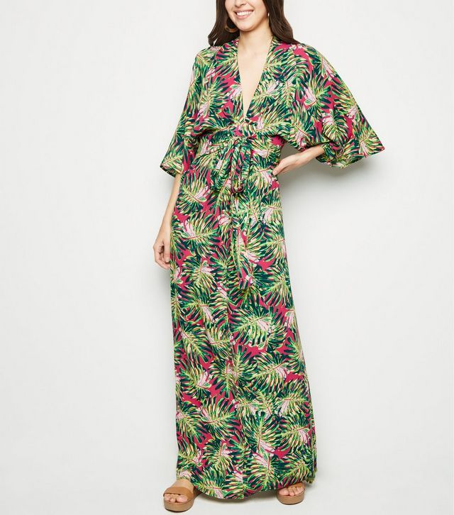 blue-vanilla-pink-tropical-leaf-kimono-maxi-dress-