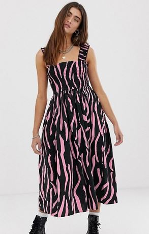 collusion shirred dress zebra