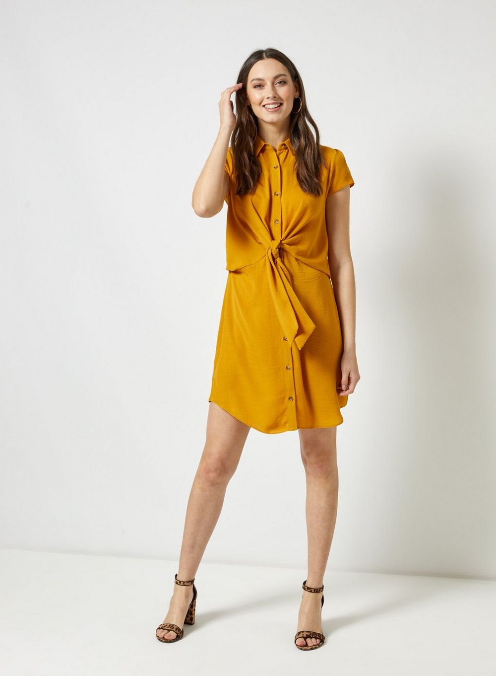 dorothy perkins Yellow Tie Linen Look Shirt Dress