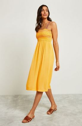 ff yellow shirred dress