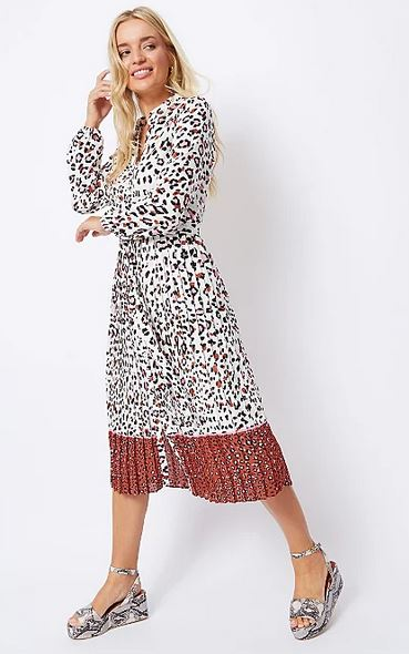 george leopard pleat midi