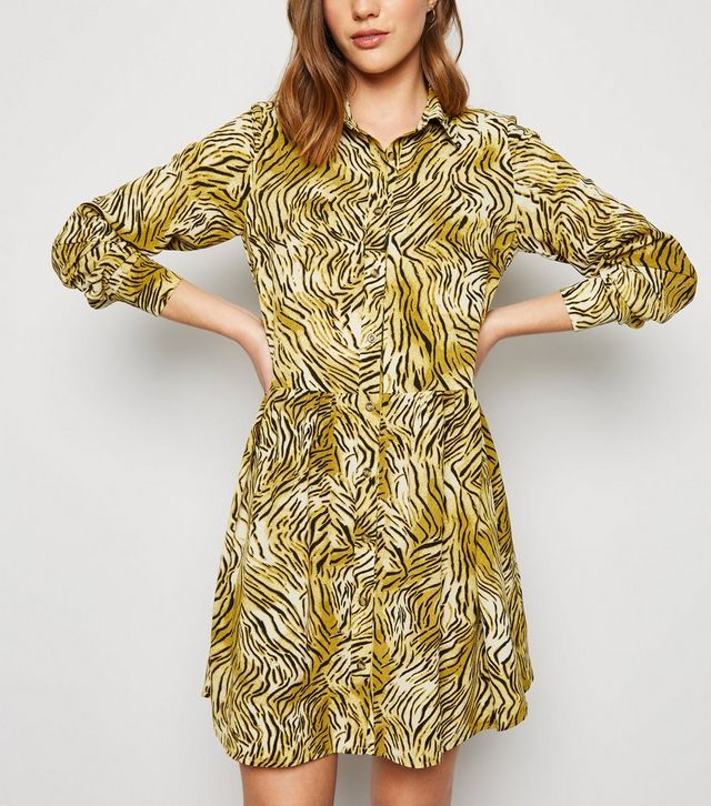 new look brown-tiger-print-smock-shirt-dress