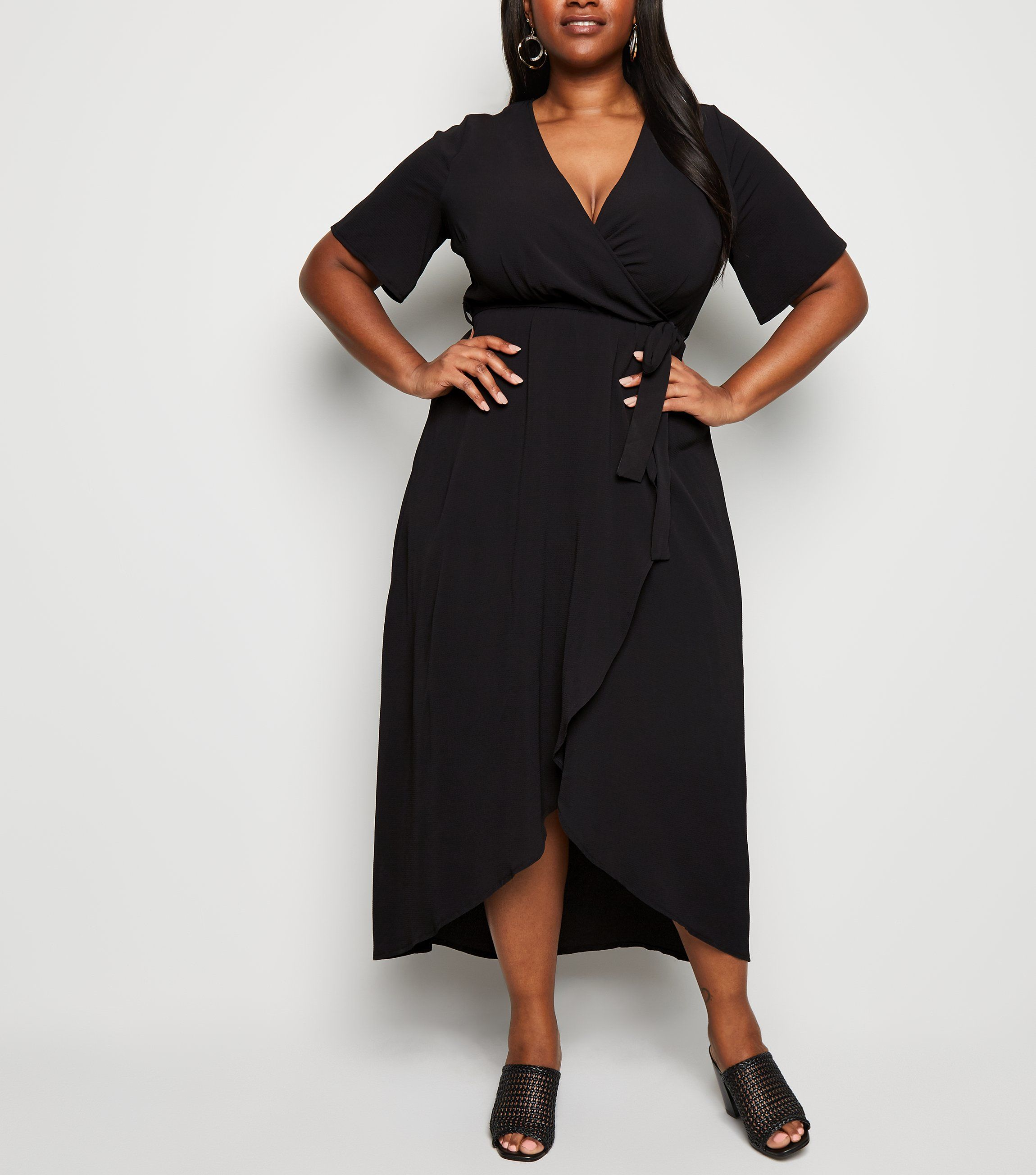 new look curves-black-dip-hem-midi-wrap-dress