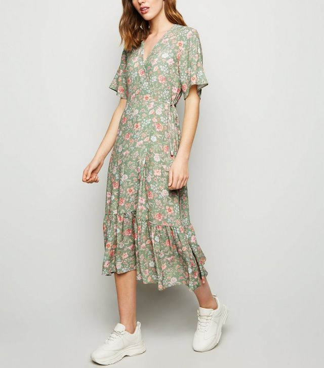 new look green-floral-frill-hem-midi-dress