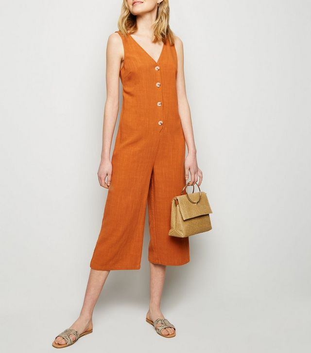 new look rust-linen-look-button-front-crop-jumpsuit