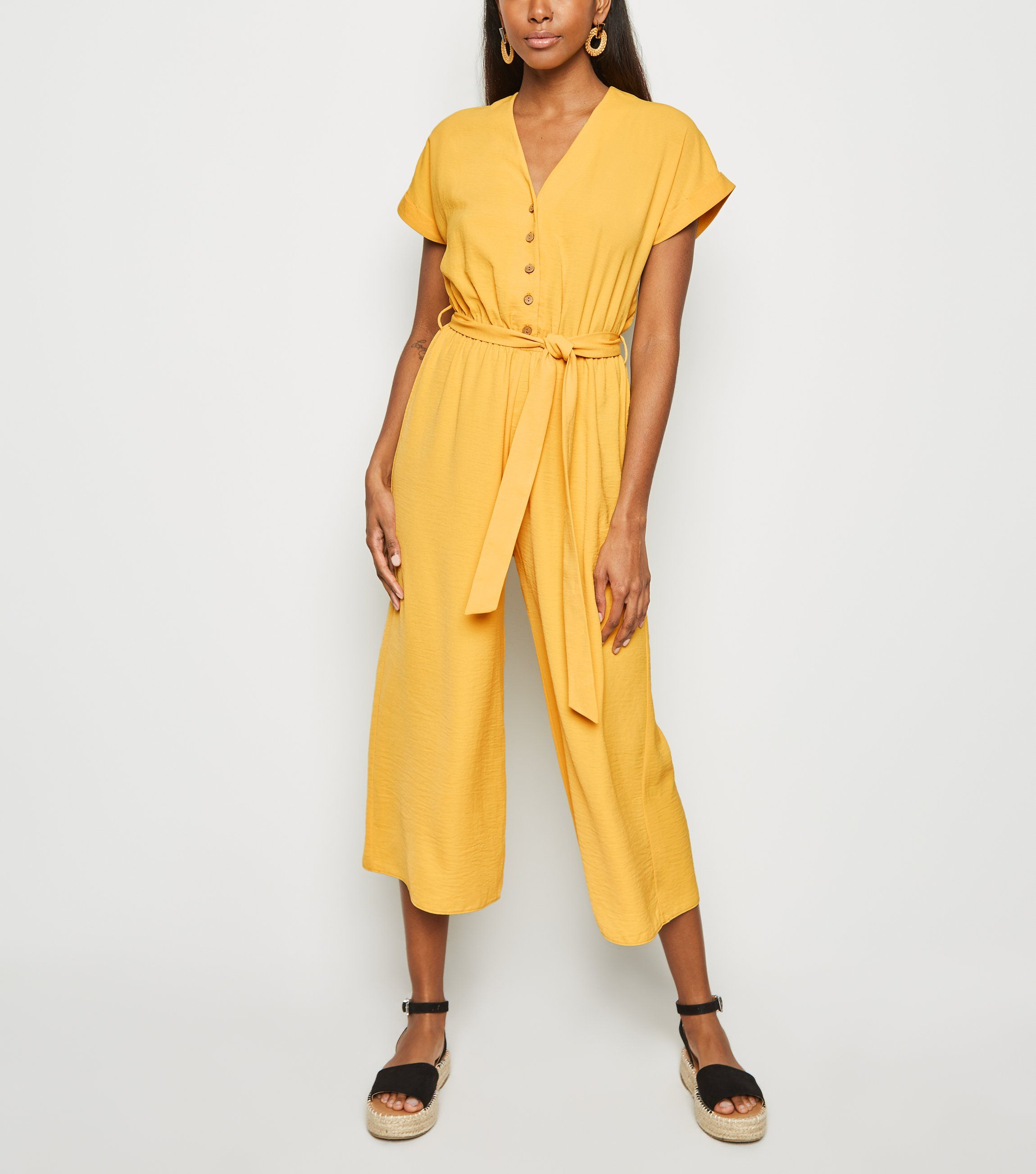 new look yellow-herringbone-tie-waist-jumpsuit