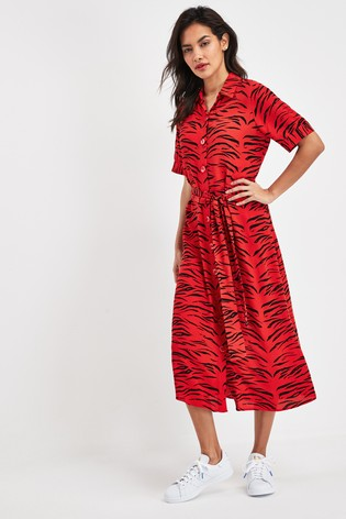 next red zebra animal print dress