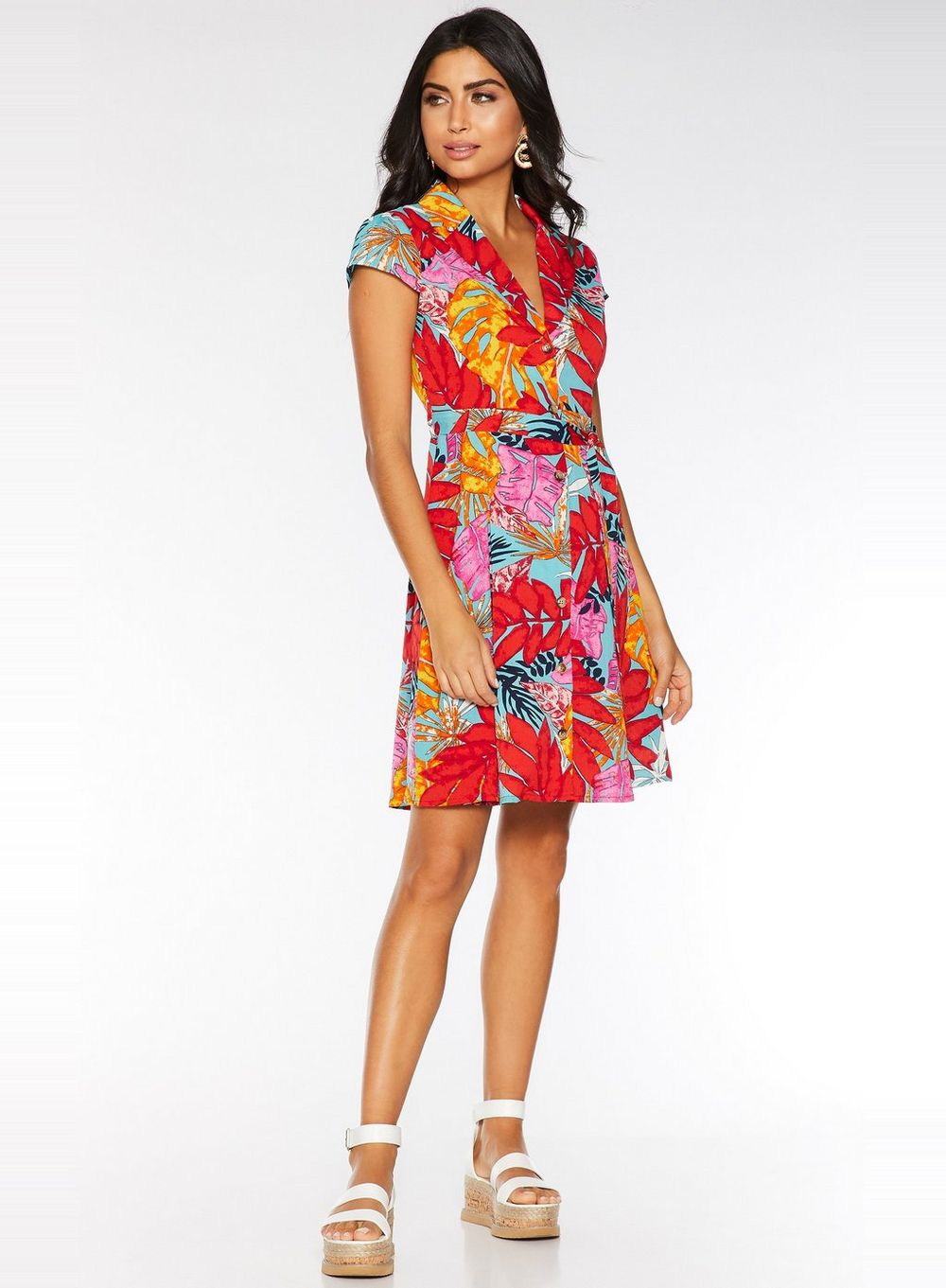 Quiz Multi Colour Tropical Print Dress