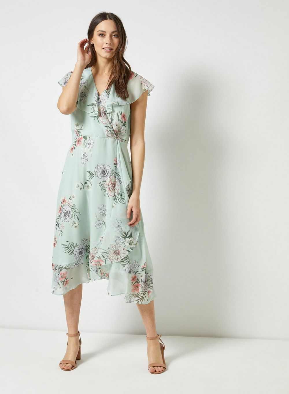 billie and blossom sage ruffle dress