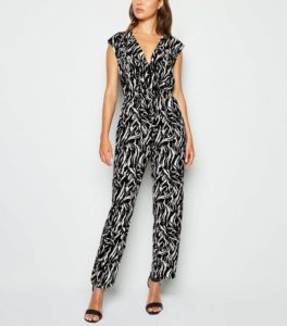 black-tiger-print-shirred-wrap-jumpsuit