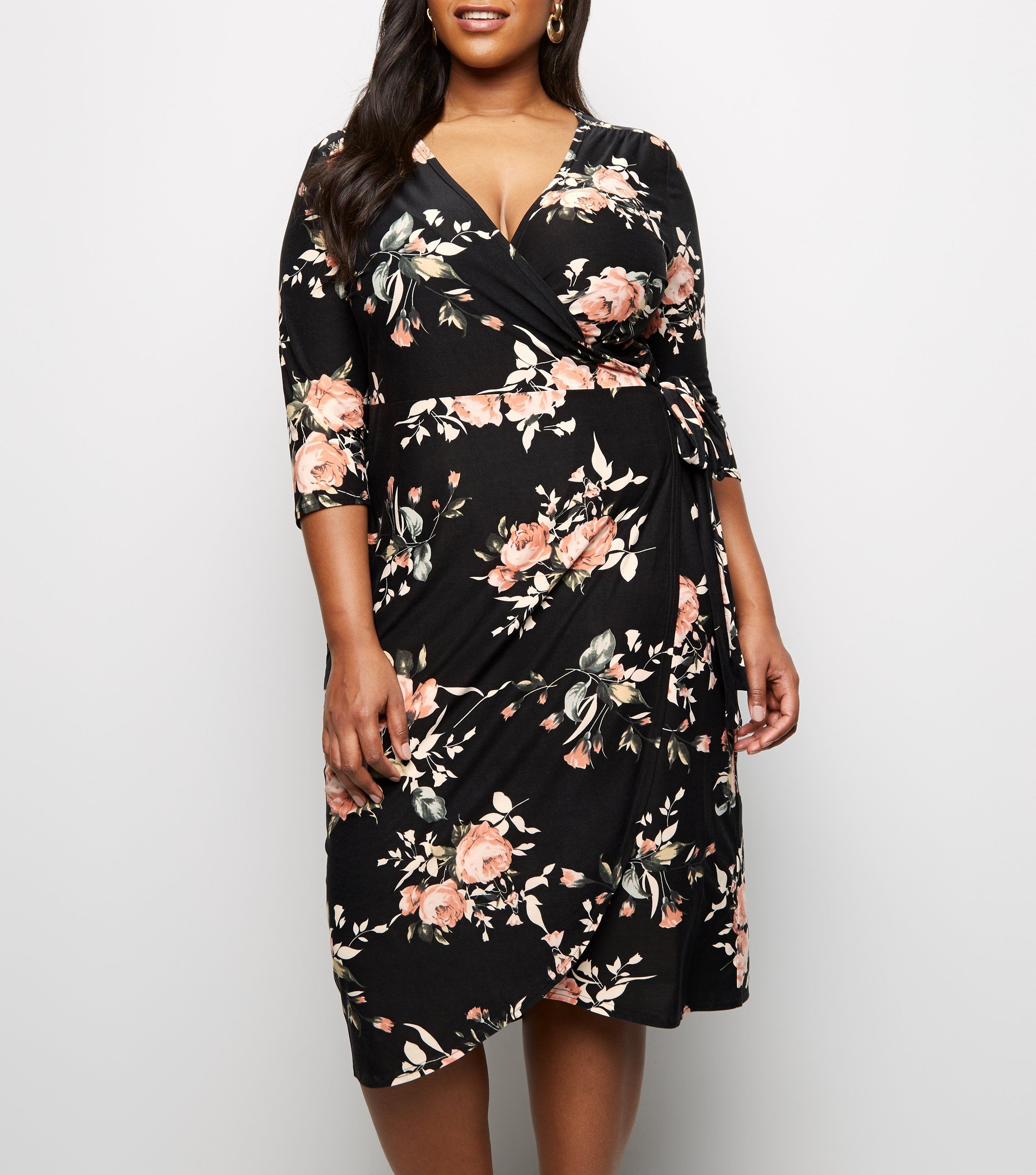 blue-vanilla-curves-black-floral-wrap-dress