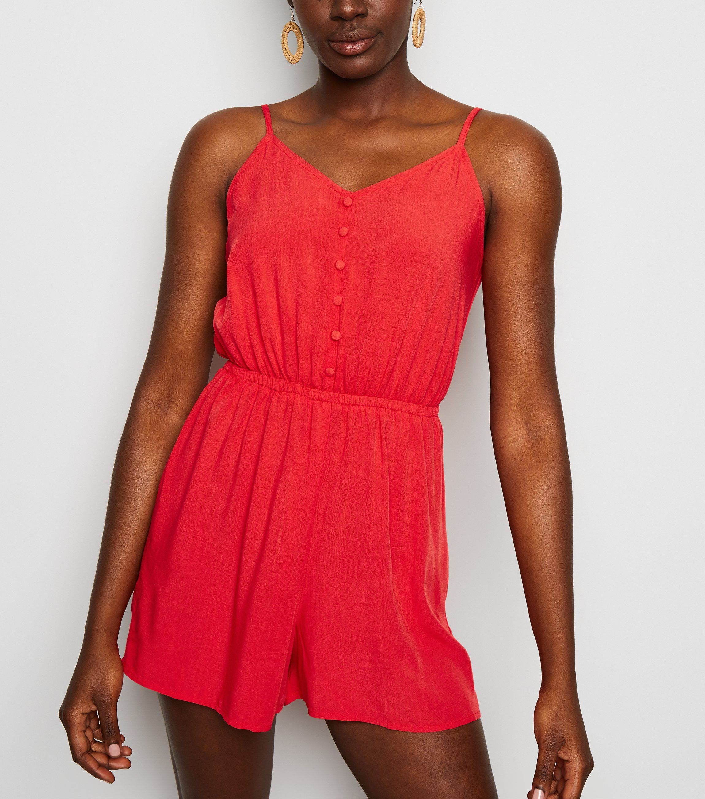new look red-strappy-button-front-playsuit