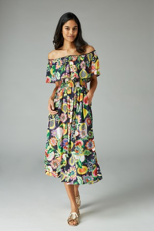 next Multi Matching Family Womens Multi Fruit Print Off The Shoulder Dress
