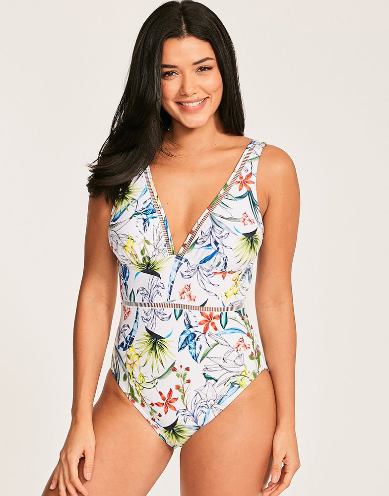 Figleaves Botanical Garden Floral Plunge Shaping Swimsuit