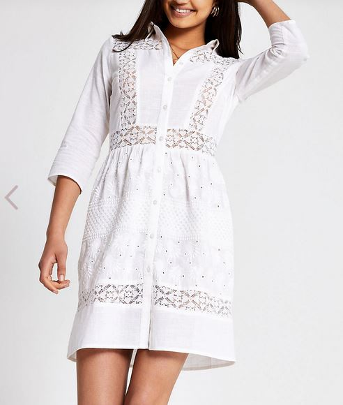 River island White broderie shirt dress