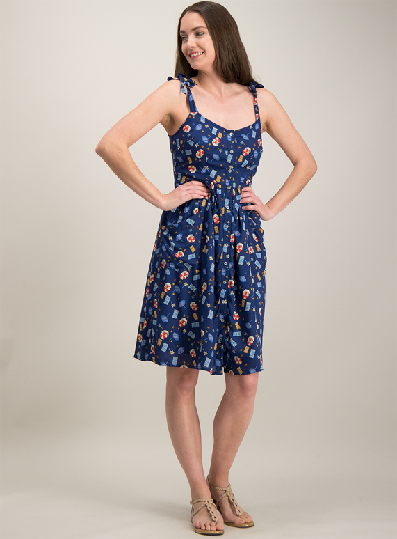 Tu Blue Parasol Print Dress