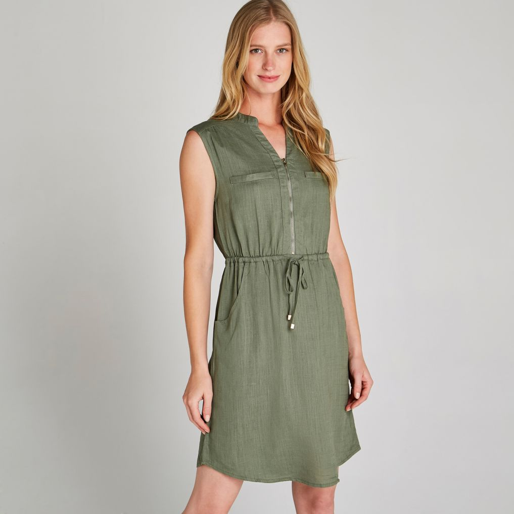 apricot Khaki Toggle Tie Waist Dress