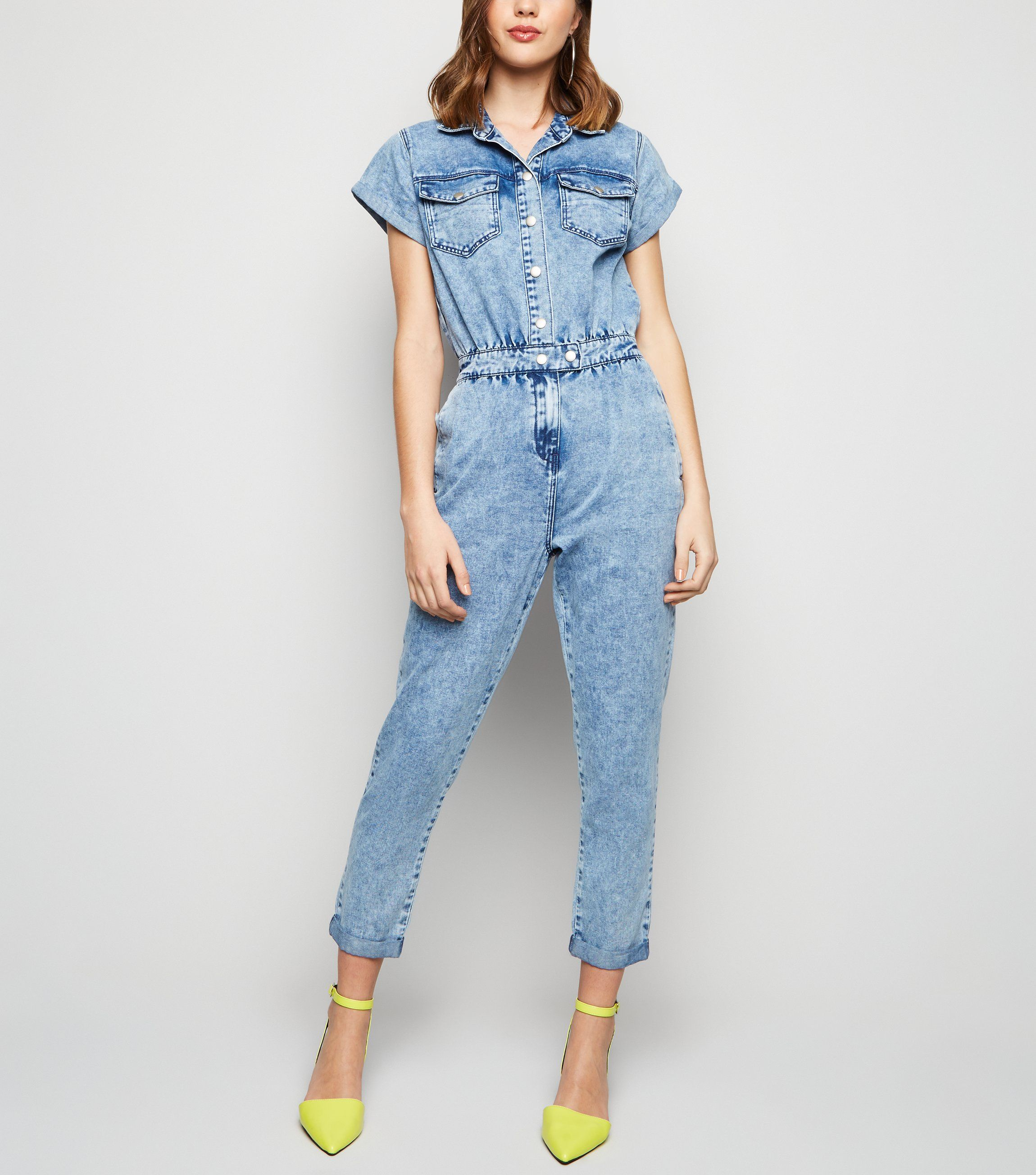 new look blue-acid-wash-denim-boiler-suit