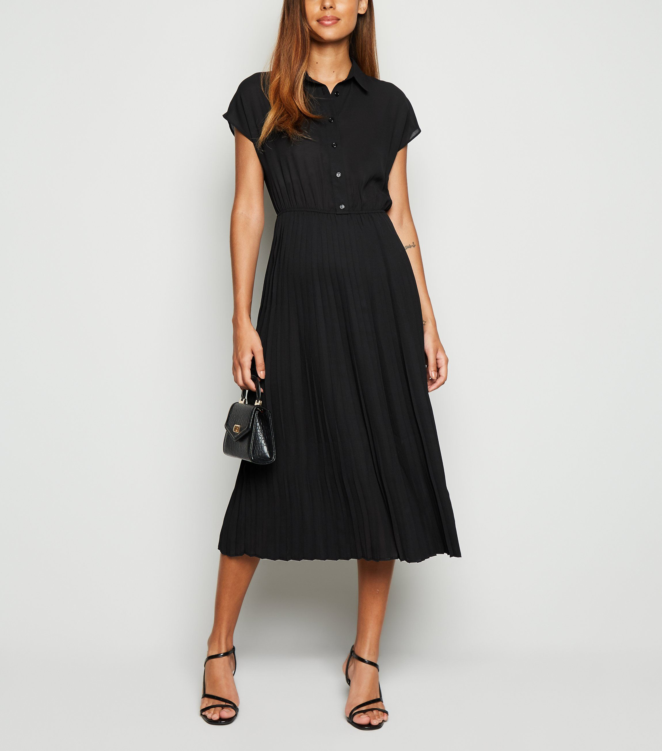 new look black-pleated-midi-shirt-dress