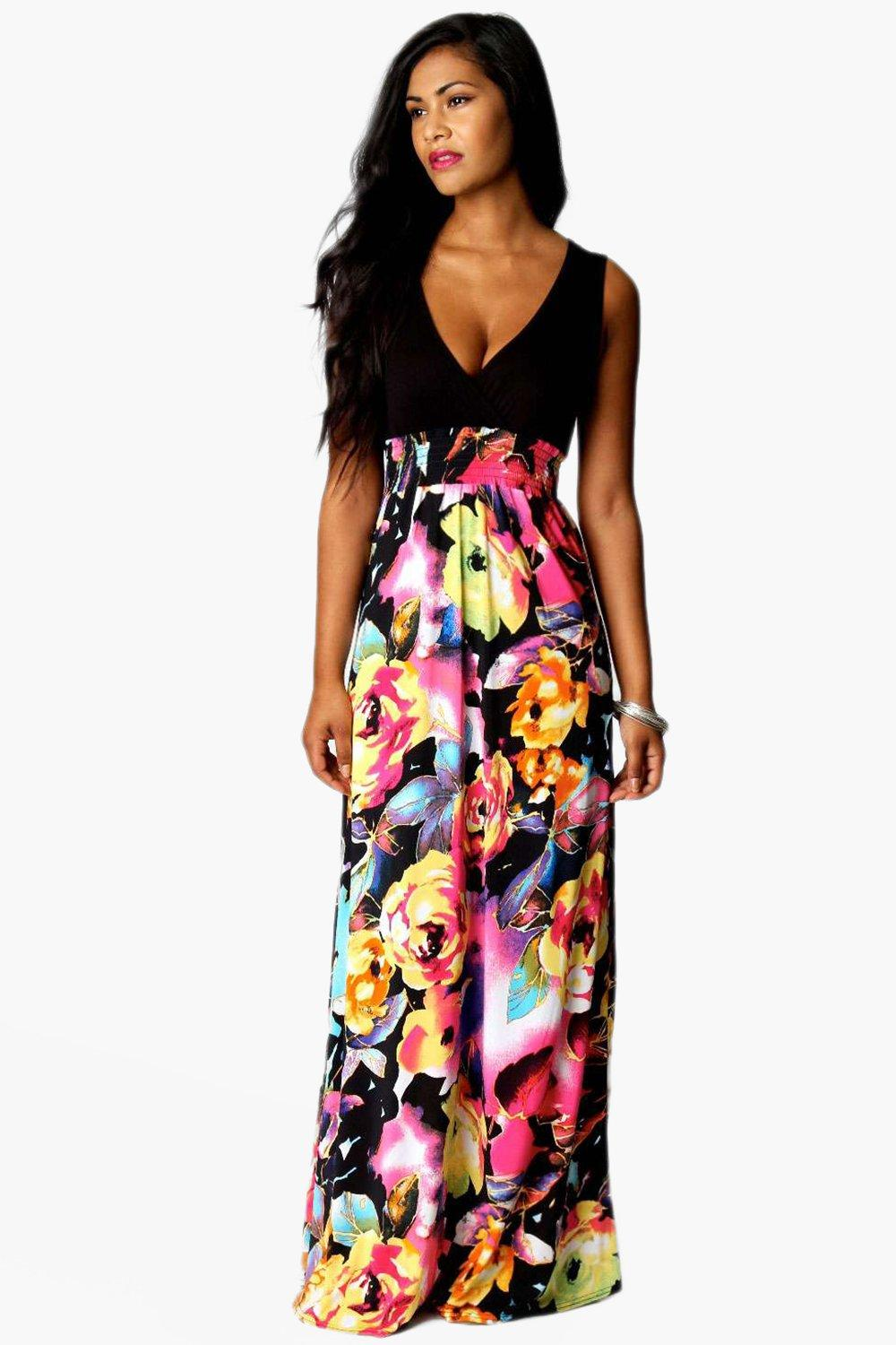 Boohoo Rose Print Maxi Dress