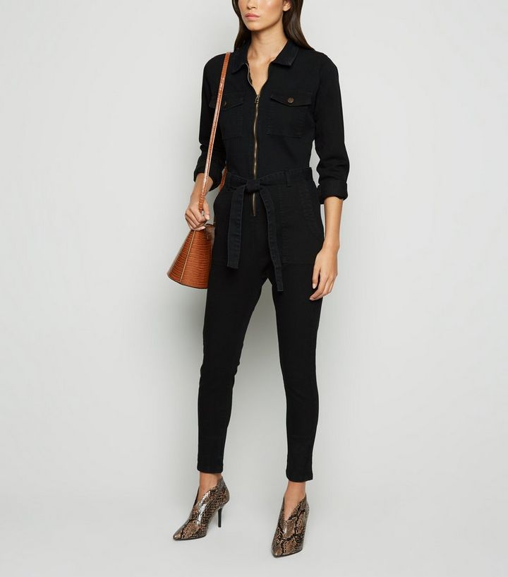black-long-sleeve-denim-jumpsuit