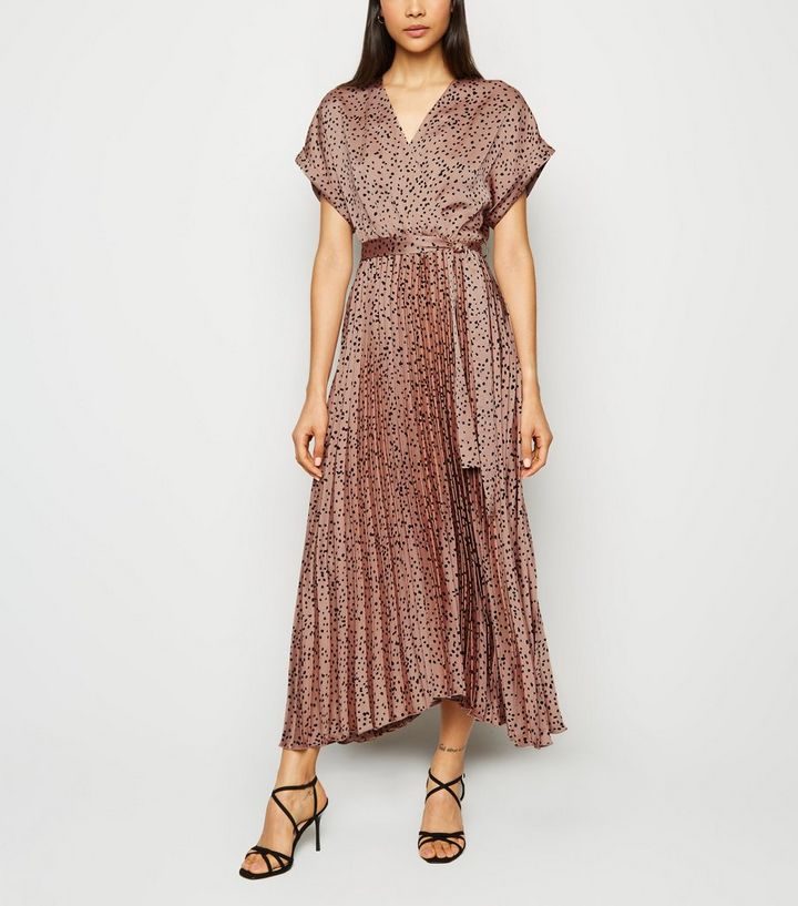 brown-satin-spot-pleated-midi-dress