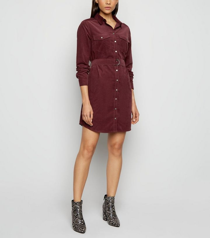burgundy-corduroy-belted-shirt-dress