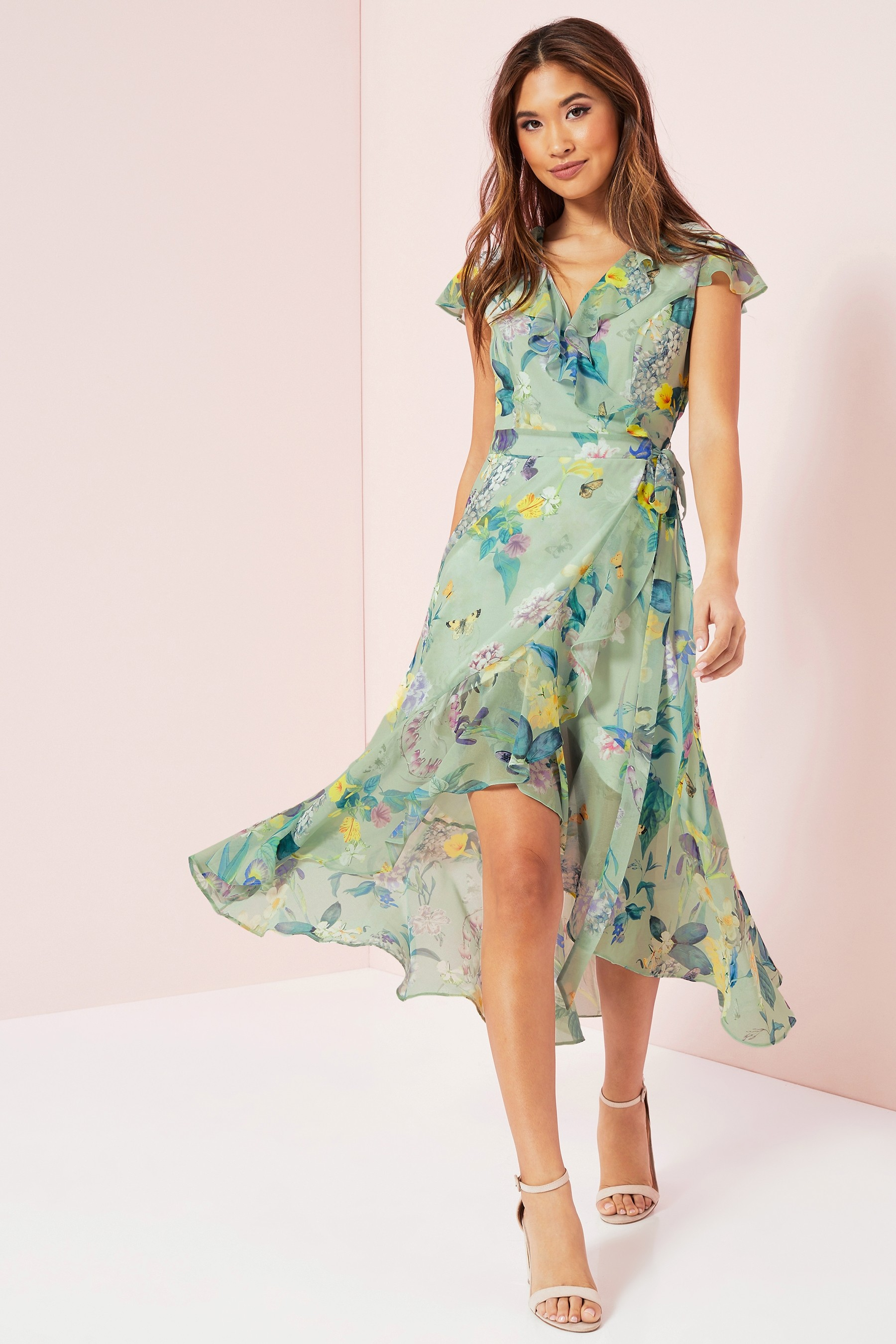 lipsy gracie print wrap dress
