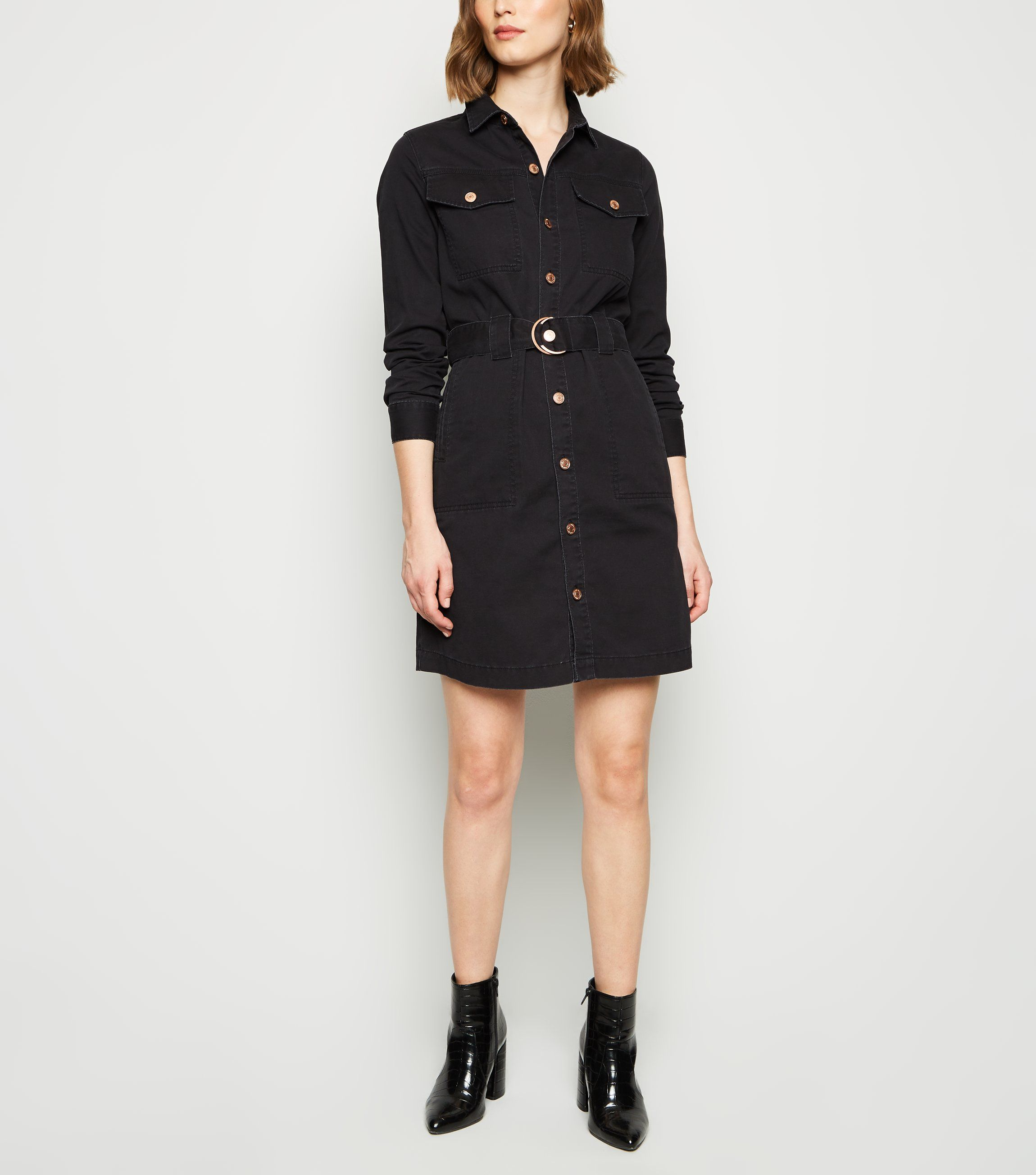 new look black-denim-tie-waist-shirt-dress