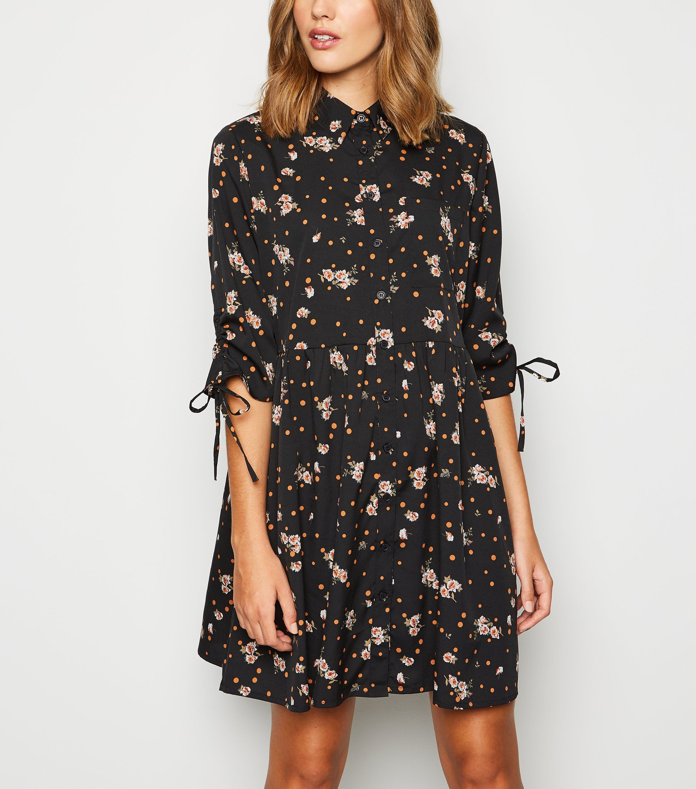 new look black-floral-and-spot-mini-shirt-dress