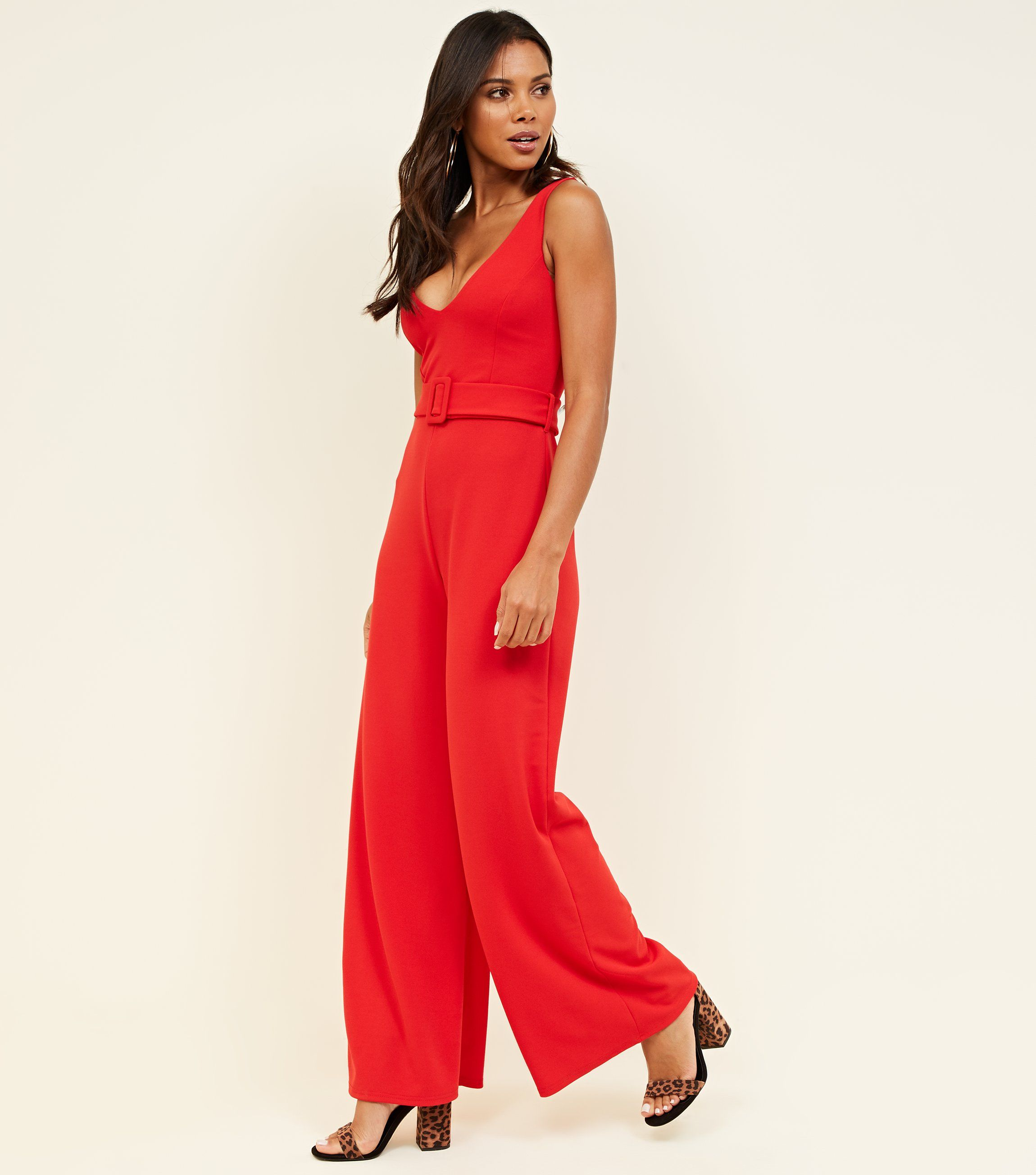 new look red-belted-wide-leg-jumpsuit