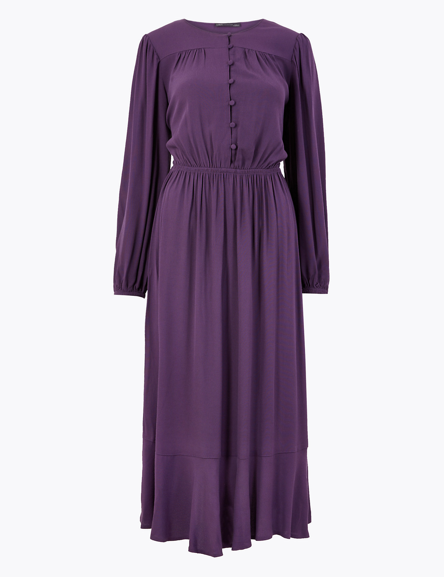 M&s button front midi