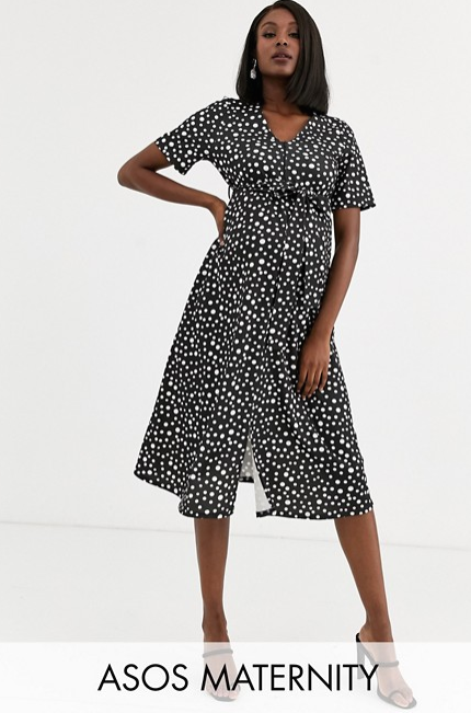 Screenshot_2019-10-03 ASOS DESIGN Maternity Exclusive nursing zip front midi dress in spot ASOS