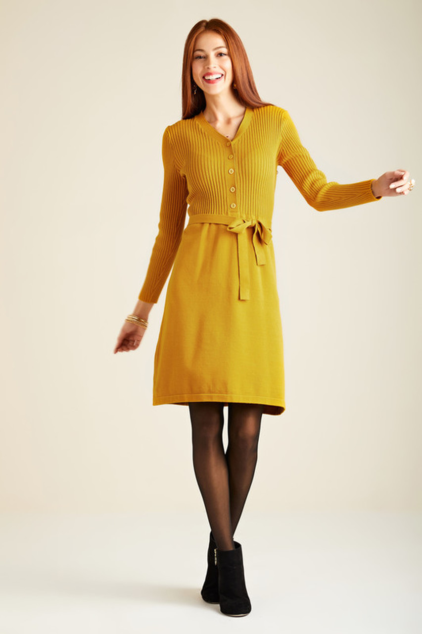 Yumi Mustard knitted shirt dress